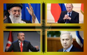 The Four Musketeers, Ayatollah Khamenei, Netanyahu, Putin, Erdogan, Russia Israel Turkey Iran RELIGIÓN Sunni Shia Divide Ukraine Hamas Palestinian Territories Crimea Iran Nuclear Weapons
