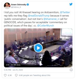 Israeli legislature presses Twitter on 'double standard' between Iran's 'genocide' tweets and Trump's